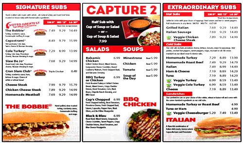 Capriottis Sandwich Shop Menu
