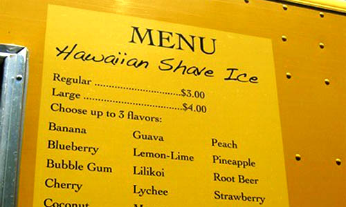 Menu of Tropical Shave Ice Truck